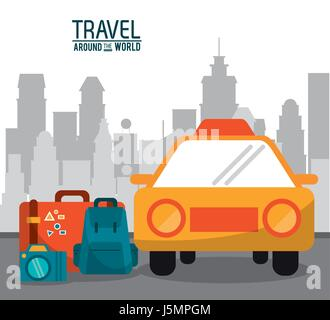 travel around the world. taxi car luggage photo camera with city background - Stock Photo