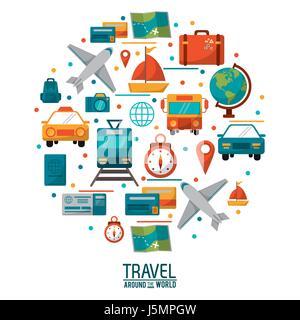 travel around the world concept poster design - Stock Photo