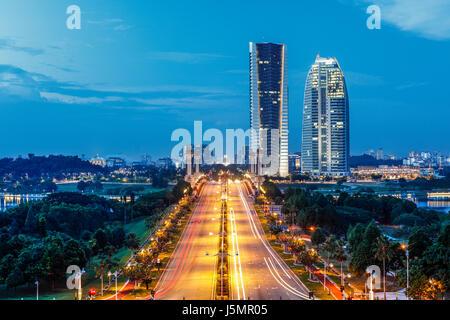 Putrajaya, Malaysia during the blue hours of twilight. - Stock Photo