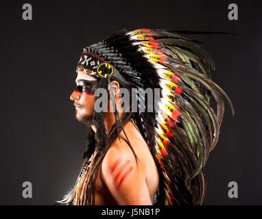 Native American Indian Chief War Bonner Headdress - Stock Photo
