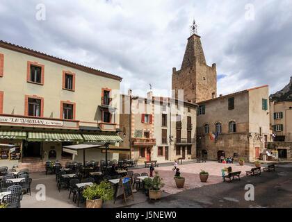 France, Pyrenees Orientales, Villefranche de Conflent, labelled Les Plus Beaux Villages de France, church and Town Hall Square