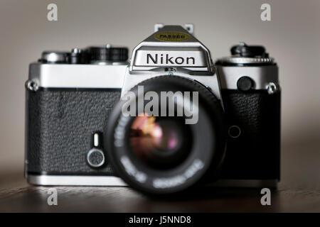Vintage Nikon FE Single Lens Reflex 35mm Film Camera - Stock Photo