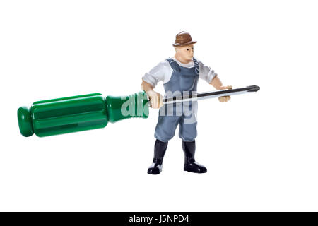 Toy man with screwdriver in hands on a white background - Stock Photo