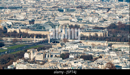 Aerial view of the Grand Palais and Petit Palais in Paris - Stock Photo