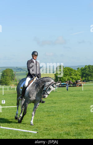 Rockingham Castle, Corby, England. 18th May 2017. Andrew Nicholson, a New Zealand olympic rider, prepares for the - Stock Photo