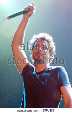 August 16, 2003 - Chris Cornell of Audioslave performs during Lollapalooza 2003. The show was held at Verizon Amphitheater - Stock Photo