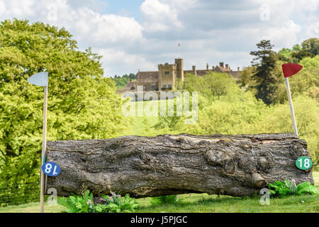 Rockingham Castle, Corby, England. 18th May 2017. A sunny and cloudy day on an empty cross country course in the - Stock Photo