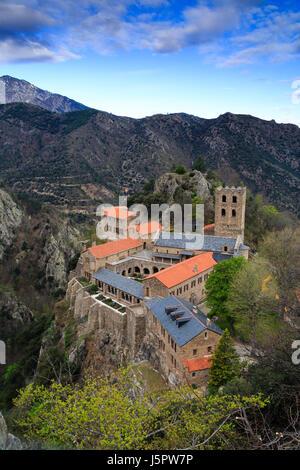 France, Pyrenees Orientales, Casteil, Saint Martin du Canigou abbey - Stock Photo
