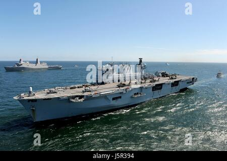 The British Royal Navy Ocean-class amphibious assault ship HMS Ocean steams underway during exercise Baltic Operations - Stock Photo