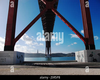 Under Ponte 25 de Abril suspension bridge over the River Tagus Lisbon, Portugal. - Stock Photo