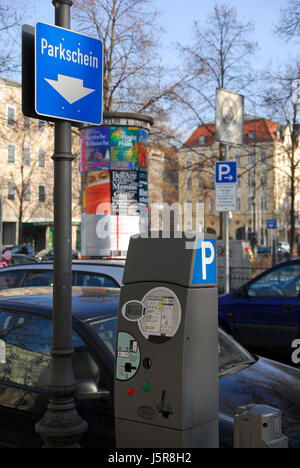 sign signal parking place signposts munich city traffic sign parking car park - Stock Photo