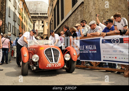 Brescia, Italy. 18th May, 2017. Joe Bastianich (R) arrive at 1000 miglia Village Credit: Gaetano Piazzolla/Pacific - Stock Photo