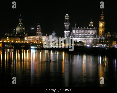 night photograph mirroring sight view outlook perspective vista panorama - Stock Photo