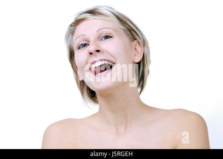 woman laugh laughs laughing twit giggle smile smiling laughter laughingly - Stock Photo