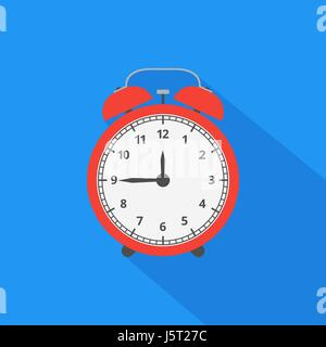 Alarm clock icon with long shadow. Flat design style. Vector ill - Stock Photo