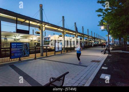 Hudson-Bergen Light Rail in the Hoboken Terminal in Hoboken, NJ on Tuesday, May 16, 2017. (© Richard B. Levine) - Stock Photo