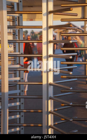 Close up of the turnstile on the Clearwater Beach pier in Florida - Stock Photo