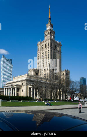 Zlota 44 residential skyscraper by Daniel Libeskind and Palace of Culture and Science (Palac Kultury i Nauki PKiN) - Stock Photo