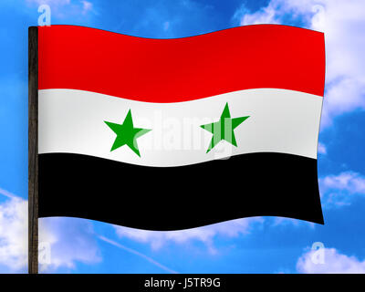 asia,flag,syria,national colors,banners,naher osten - Stock Photo