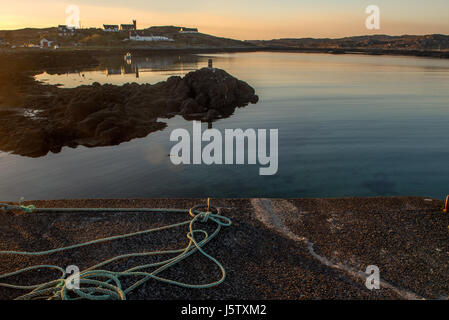 Evening Light at Arinagour on The Hebridean Isle of Coll - Stock Photo