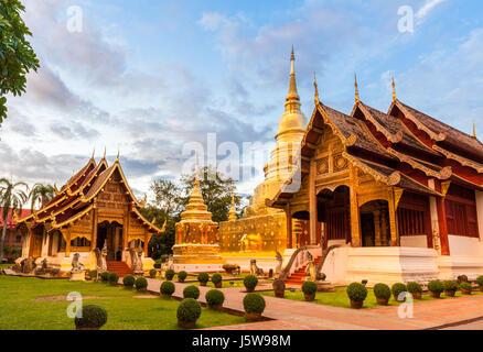 Wat Phra Singh Woramahaviharn. Buddhist temple in Chiang Mai, Thailand. - Stock Photo