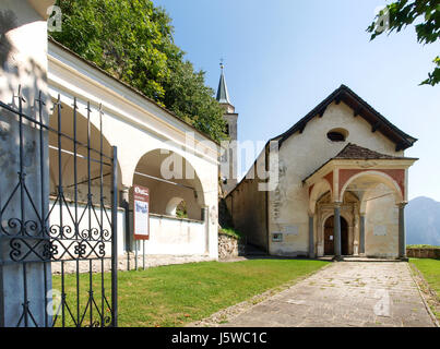 Santa Maria in Calanca, Switzerland: View of the church of Santo Stefano - Stock Photo