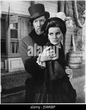 Vincent Price, Debra Paget, on-set of the Film, 'The Haunted Palace', 1963 - Stock Photo