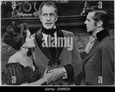 Debra Paget, Vincent Price, David Frankham, on-set of the Film, 'Tales of Terror', 1962 - Stock Photo
