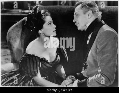 Debra Paget, Vincent Price, on-set of the Film, 'Tales of Terror', 1962 - Stock Photo