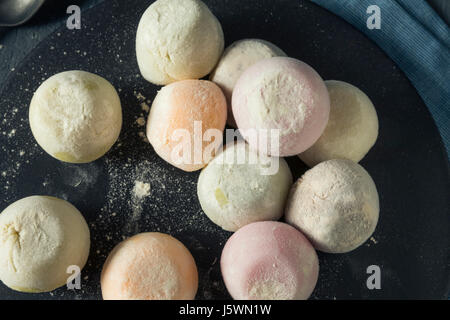 Sweet Japanese Mochi Ice Cream in Many Flavours - Stock Photo