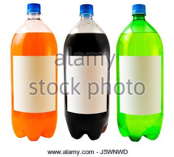 isolated bottle plastic synthetic material soda close orange object macro - Stock Photo