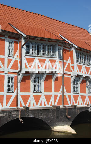 half-timbered house on the vault wismar - Stock Photo