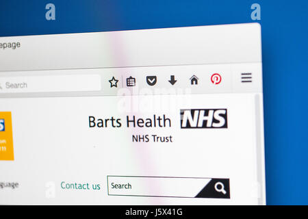 LONDON, UK - MAY 17TH 2017: The homepage of the official website for the Barts Health NHS Trust, on 17th May 2017. - Stock Photo