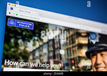 LONDON, UK - MAY 17TH 2017: The homepage of the official website for the Metropolitan Police Service, on 17th May - Stock Photo