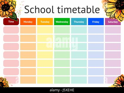 School timetable schedule colorful vector illustration – School Time Table Designs