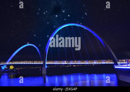 Bridge at Elizabeth Quay in Perth on Swan river at evening, in west Australia - Stock Photo
