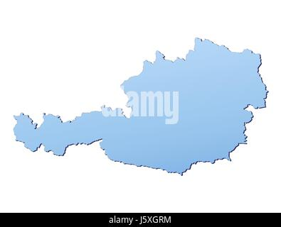 blue isolated austria outline gradient map atlas map of the world backdrop - Stock Photo