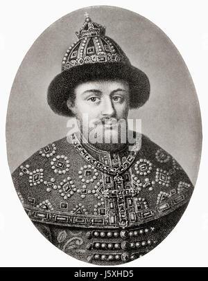 Aleksey Mikhailovich aka Alexis of Russia, 1629 – 1676.  Russian Tsar.   From Hutchinson's History of the Nations, - Stock Photo