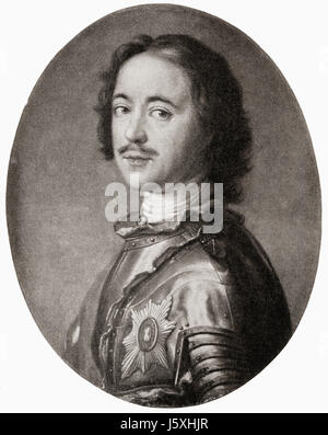Peter the Great, 1672 – 1725.  Ruled the Tsardom of Russia and later the Russian Empire.  From Hutchinson's History - Stock Photo