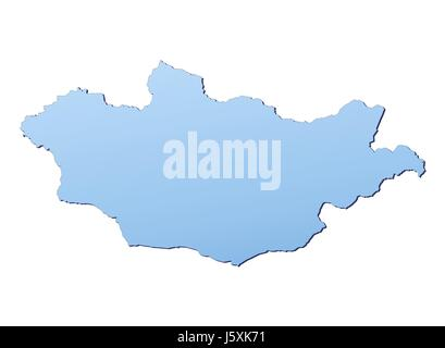 blue isolated mongolia outline gradient map atlas map of the world backdrop - Stock Photo