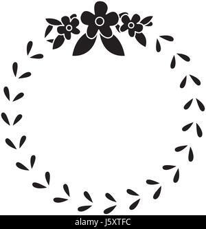 floral crown wreath emblem decoration pictogram - Stock Photo
