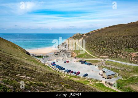 CHAPEL PORTH, CORNWALL, UK - 24APR2017:Chapel Porth Beach is on the North Cornwall coast between St Agnes and Pothtowan. - Stock Photo