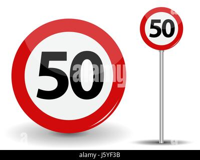 Round Red Road Sign Speed limit 50 kilometers per hour. Vector Illustration. - Stock Photo