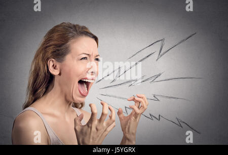 Side view portrait angry woman screaming, wide open mouth, hysterical isolated grey wall background. Negative human - Stock Photo