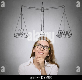 Balance. Life choices, priorities, opportunities, possibilities. Woman, student  thinking, looking for solution - Stock Photo