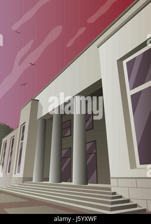Cartoon museum or gallery building in Art Deco style. - Stock Photo