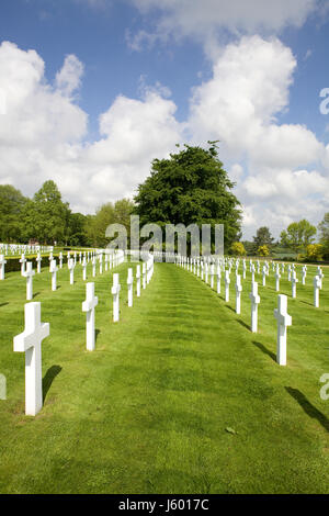 American Cemetery and Memorial, field of white crosses - Stock Photo