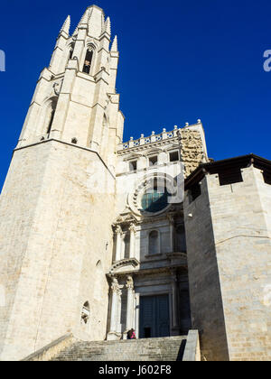 The Collegiate Church of Sant Feliu, Girona, Spain. - Stock Photo