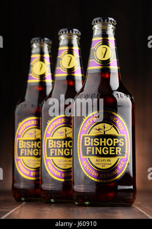 POZNAN, POLAND - AUGUST 12, 2016: Bishop's Finger  is a fine English Ale produced by Shepherd Neame, an independent - Stock Photo