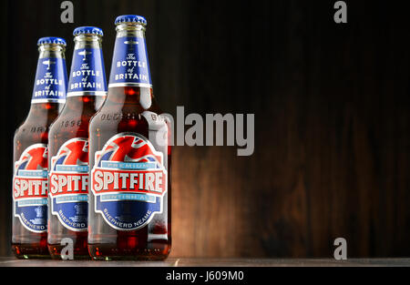 POZNAN, POLAND - AUGUST 12, 2016: Spitfire Premium Kentish Ale is the best-selling cask conditioned ale of Shepherd - Stock Photo